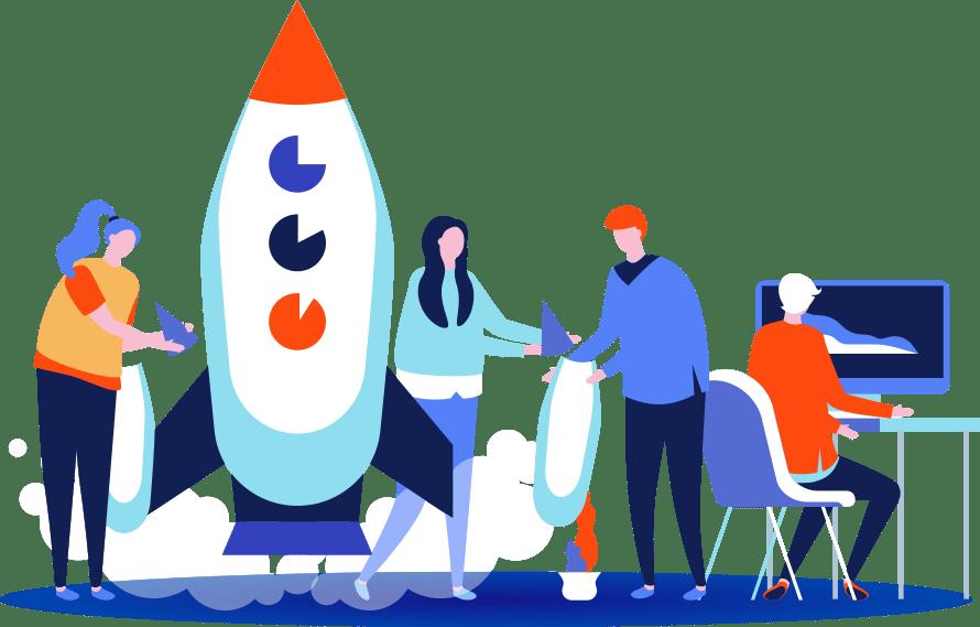 Illustration d'hommes et de femmes travaillant dans une entreprise du digital en croissance : une startup