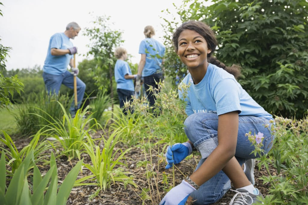 Groupe de 4 personnes dont une femme au premier plan travaillant dans la nature sur un projet eco-responsable